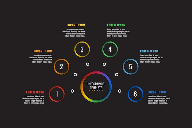 Modelo de infográfico de 6 etapas com elementos de corte de papel redondo Vetor Premium