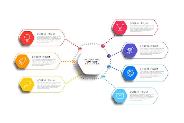 Modelo de infográfico de 7 etapas com elementos hexagonais realistas em branco Vetor Premium