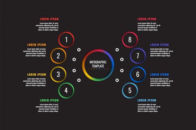 Modelo de infográfico de 8 etapas com elementos de corte de papel redondo em fundo preto Vetor Premium