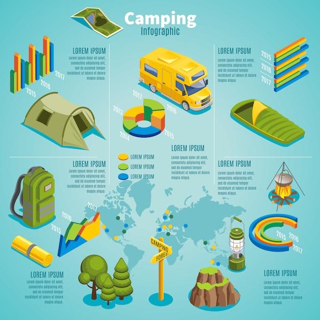 Modelo de infográfico de acampamento isométrico verão com mapa de barraca de ônibus de viagem Vetor grátis