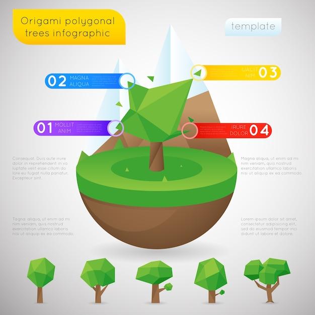 Modelo de infográfico de árvores poligonais de origami. ordem natural do polígono, conteúdo estático Vetor grátis