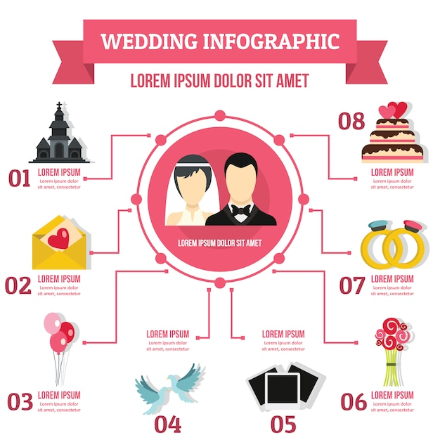 Modelo de infográfico de casamento, estilo simples Vetor Premium