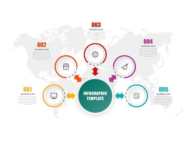 Modelo de infográfico de cinco pontos - estratégia de negócios Vetor Premium