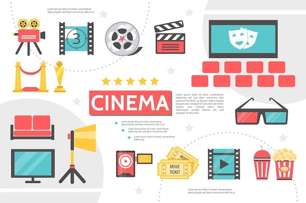 Modelo de infográfico de cinematografia plana Vetor Premium