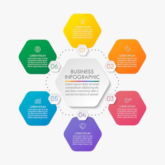 Modelo de infográfico de círculo de apresentação comercial. Vetor Premium
