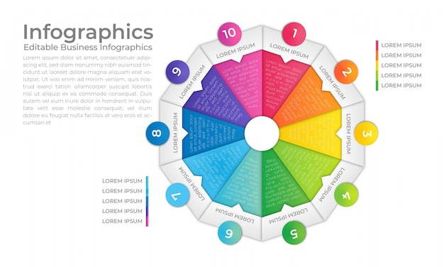 Modelo de infográfico de círculo Vetor Premium