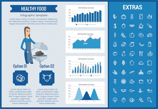 Modelo de infográfico de comida saudável, elementos, ícones Vetor Premium