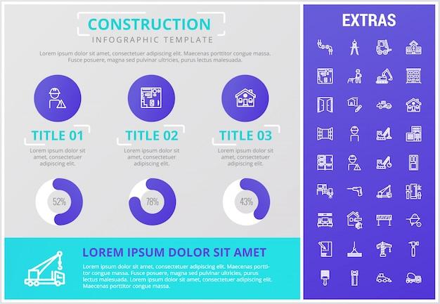 Modelo de infográfico de construção e elementos Vetor Premium