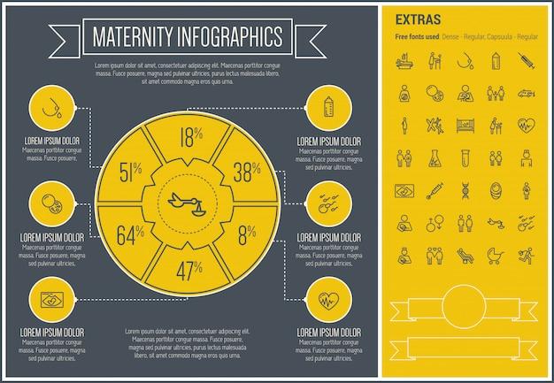 Modelo de infográfico de design de linha de maternidade Vetor Premium