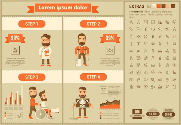 Modelo de infográfico de design plano de medicina e conjunto de ícones Vetor Premium