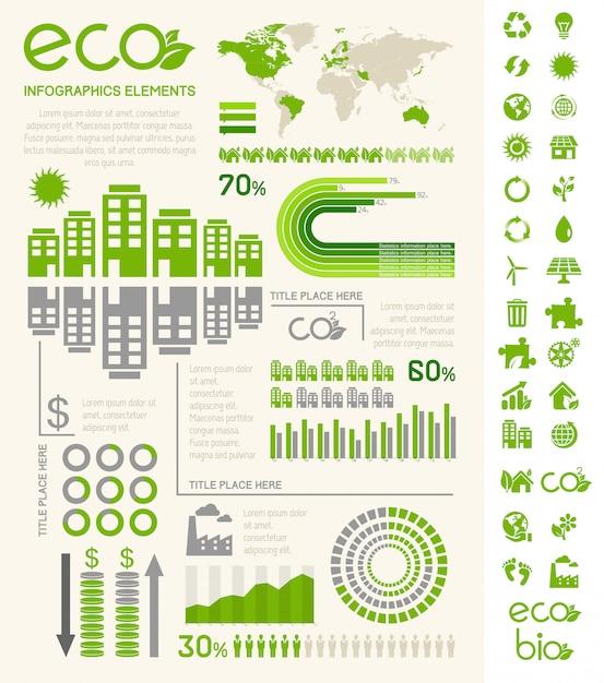 Modelo de infográfico de ecologia. Vetor Premium