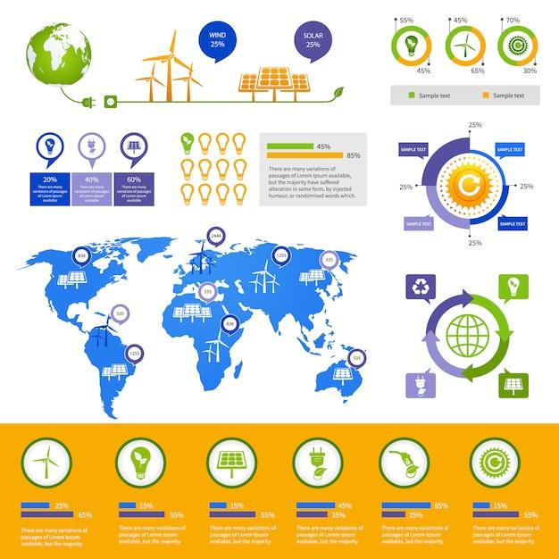 Modelo de infográfico de energia Vetor Premium