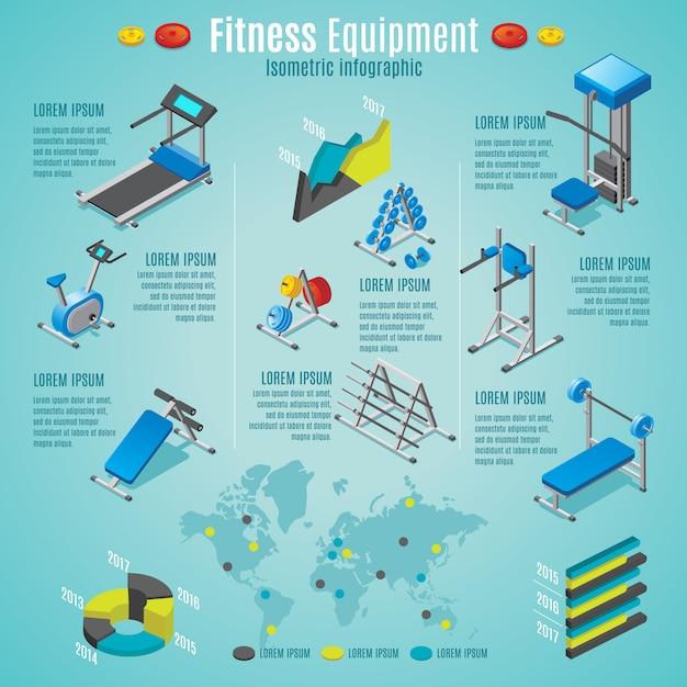 Modelo de infográfico de equipamentos de fitness isométrico com esteira ergométrica bicicleta ergométrica halteres diferentes treinadores isolados Vetor grátis