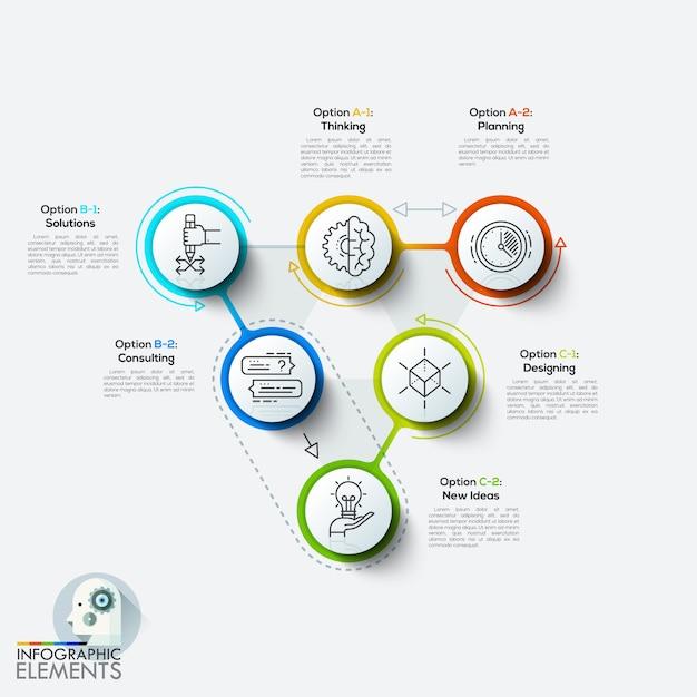Modelo de infográfico de estilo minimalista de design moderno Vetor Premium