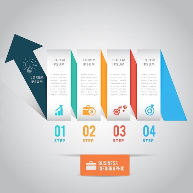 Modelo de infográfico de fita de seta Vetor Premium