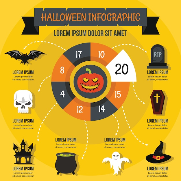 Modelo de infográfico de halloween, estilo simples Vetor Premium