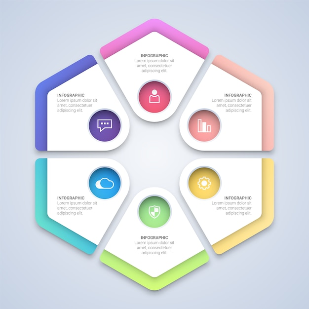 Modelo de infográfico de hexágono colorido Vetor Premium