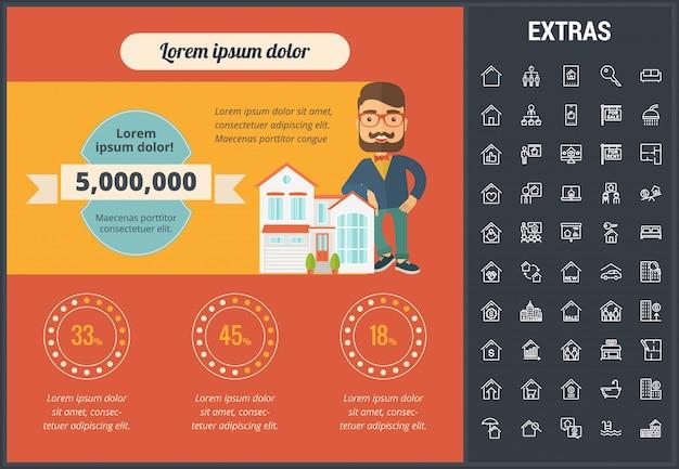 Modelo de infográfico de imóveis, elementos, ícones Vetor Premium
