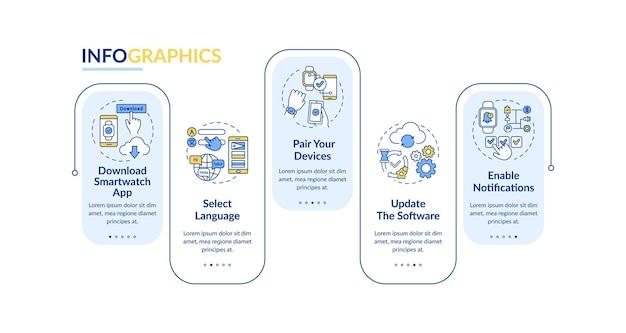 Modelo de infográfico de instalação smartwatch Vetor Premium