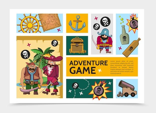 Modelo de infográfico de jogo de aventura em desenho animado Vetor grátis
