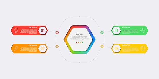 Modelo de infográfico de layout de design de quatro etapas simples com elementos hexagonais. Vetor Premium