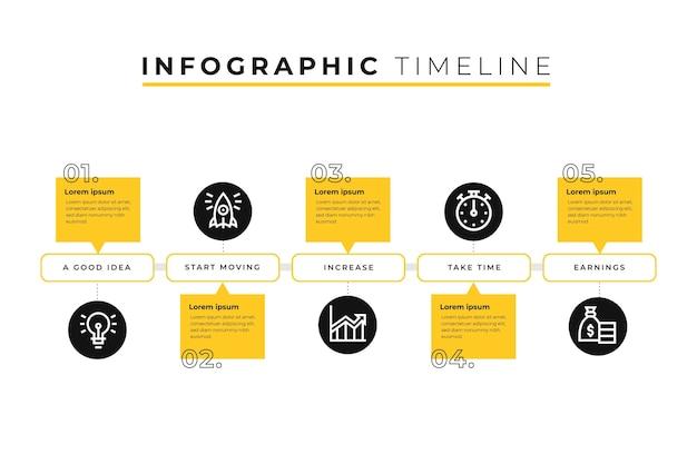Modelo de infográfico de linha do tempo com círculos Vetor Premium