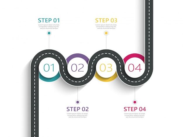 Modelo de infográfico de localização de caminho de estrada sinuosa com uma estrutura em fases Vetor Premium