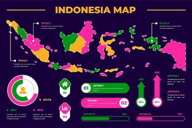 Modelo de infográfico de mapa da indonésia Vetor grátis