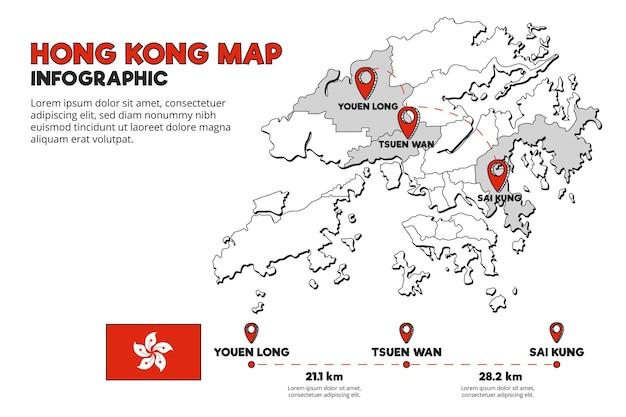 Modelo de infográfico de mapa de hong kong Vetor grátis