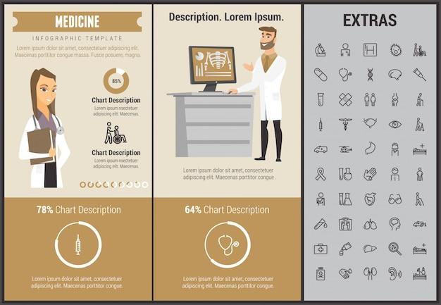 Modelo de infográfico de medicina, elementos e ícones Vetor Premium