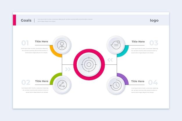 Modelo de infográfico de metas coloridas Vetor Premium