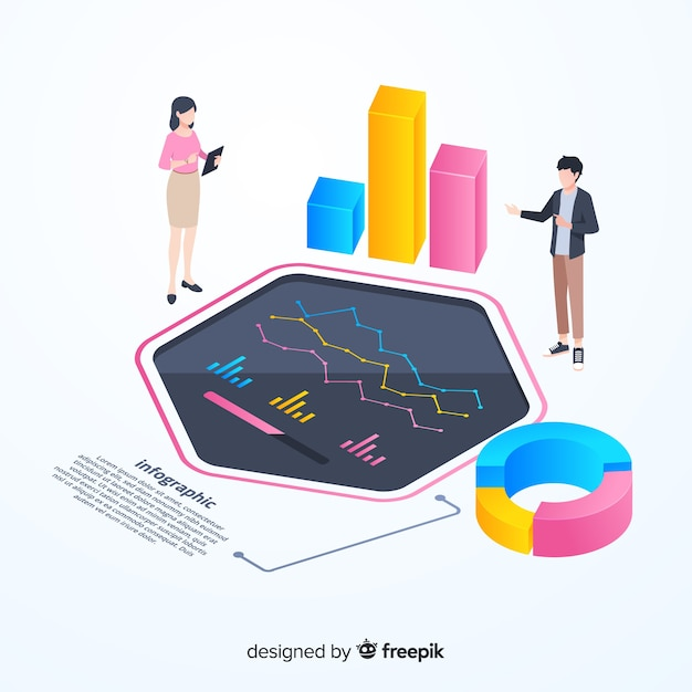Modelo de infográfico de monitoramento colorido isométrico Vetor grátis