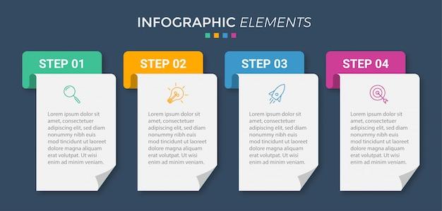 Modelo de infográfico de negócios apresentação com 5 opções Vetor Premium