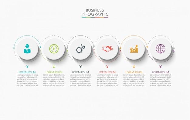 Modelo de infográfico de negócios apresentação com 6 opções. Vetor Premium