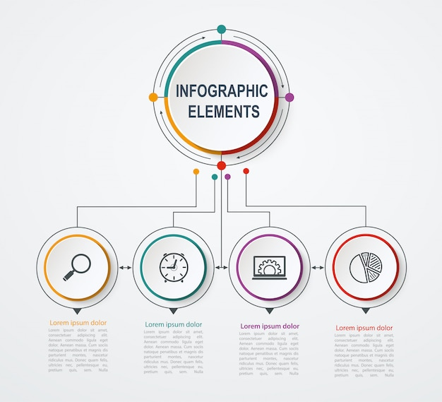 Modelo de infográfico de negócios de apresentação com 4 opções. conceito de negócio com círculos integrados. Vetor Premium