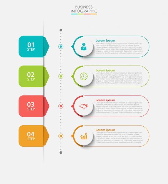 Modelo de infográfico de negócios de apresentação com 4 opções. Vetor Premium