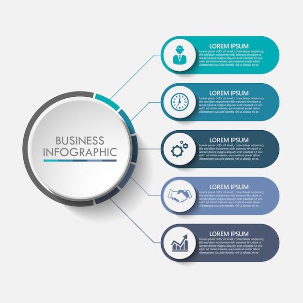 Modelo de infográfico de negócios de apresentação com 5 opções. Vetor Premium