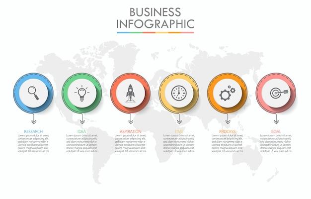 Modelo de infográfico de negócios de apresentação com 6 opções. Vetor Premium