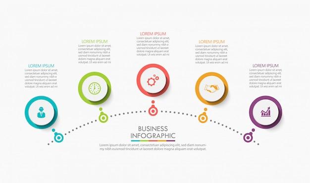 Modelo de infográfico de negócios de apresentação. Vetor Premium