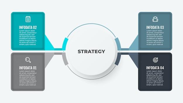 Modelo de infográfico de negócios. elementos de diagrama criativo de design com papel. vetor com ícones e 4 opções ou etapas. Vetor Premium