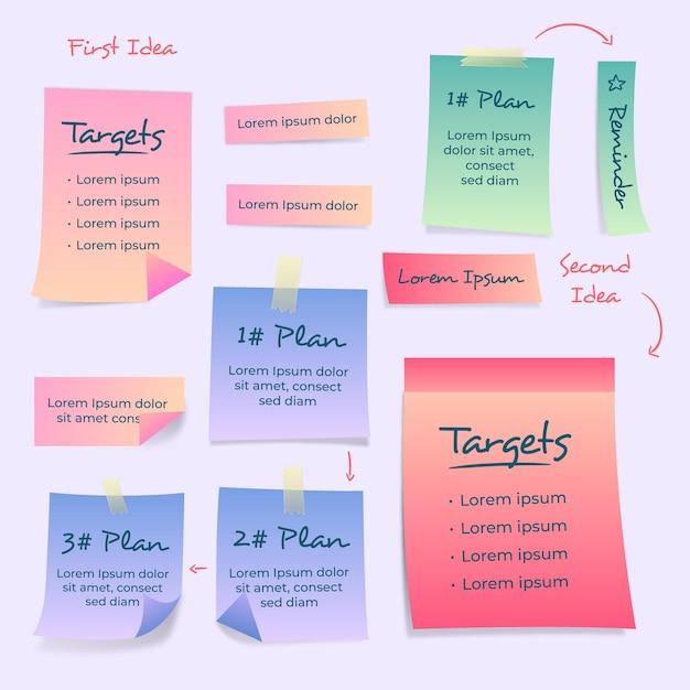 Modelo de infográfico de notas adesivas de gradiente Vetor Premium