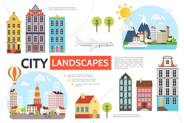 Modelo de infográfico de paisagem plana com edifícios modernos árvores sol montanhas céu avião balão de ar quente navio ilustração Vetor grátis