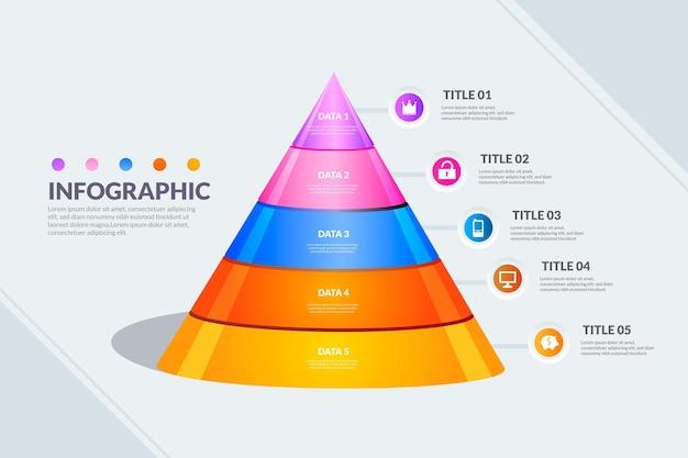 Modelo de infográfico de pirâmide Vetor grátis