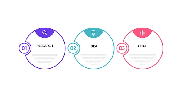 Modelo de infográfico de processo de negócios com opções ou etapas. linha fina . gráfico de ilustração. Vetor Premium