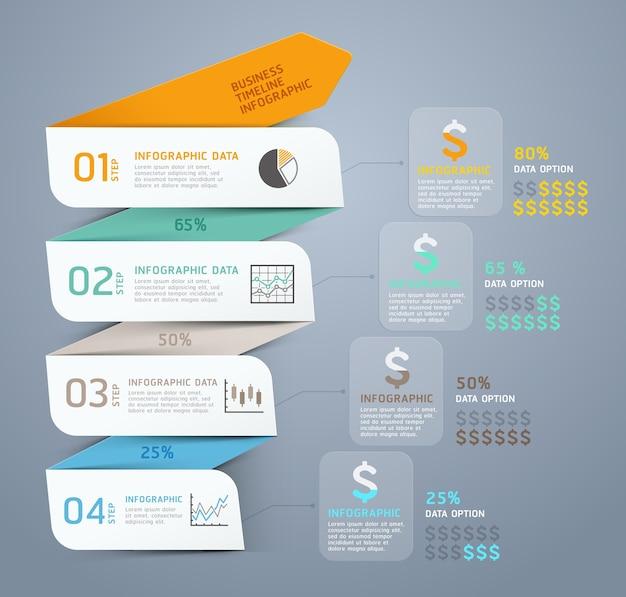Modelo de infográfico de seta de etapa de negócios. Vetor Premium