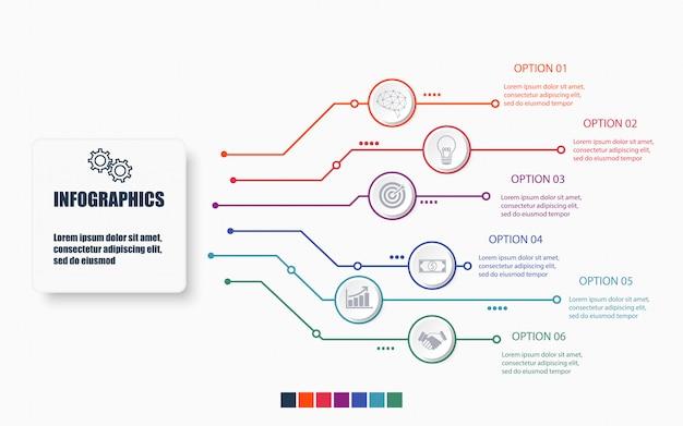 Modelo de infográfico de tecnologia e negócios com 6 opções Vetor Premium