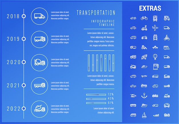 Modelo de infográfico de transporte e elementos Vetor Premium