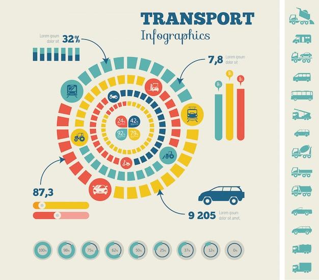 Modelo de infográfico de transporte. Vetor Premium