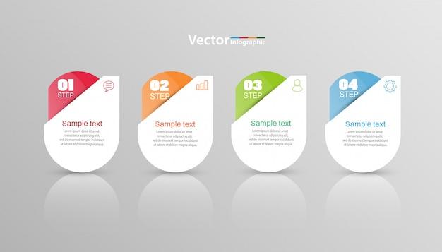 Modelo de infográfico de vetor com 4 opções Vetor Premium