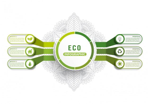 Modelo de infográfico de vetor com ecologia verde moderno design layout infográficos 6 opções Vetor Premium